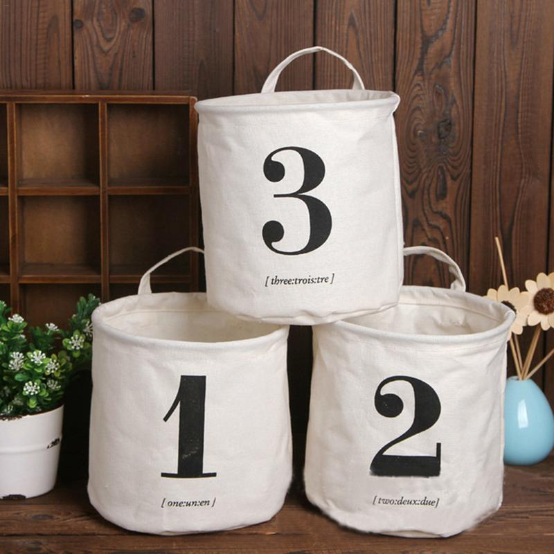 Storage Basket Box Fashion Home Cotton And Linen Numeral Storage Basket Simple Holder Organizer For Home Bedthroom