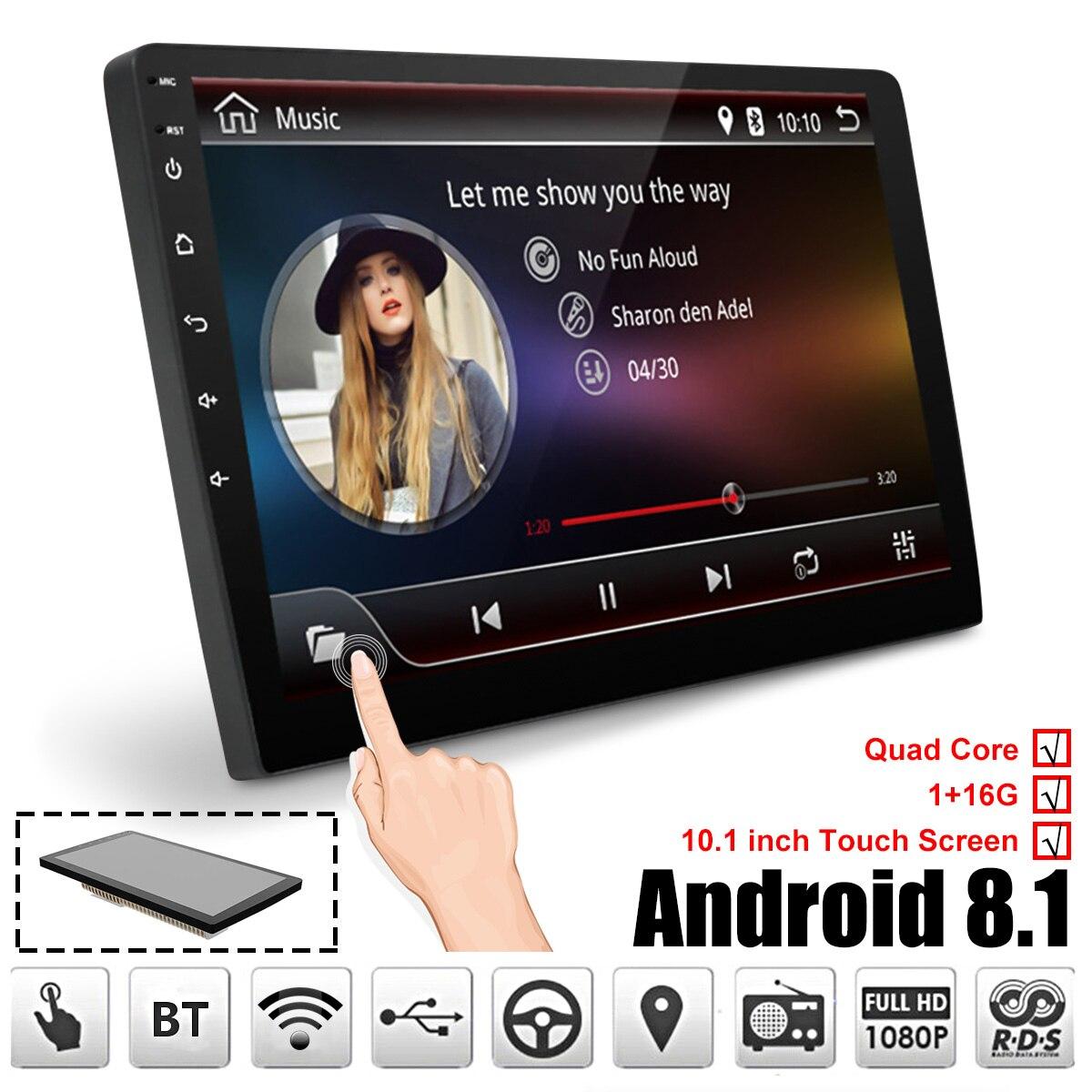 Reprodutor multimídia carro 10.1 ''Android 8.1 Estéreo Carro 2DIN Bluetooth WIFI GPS Nav Quad Core Rádio MP5 Player de Vídeo