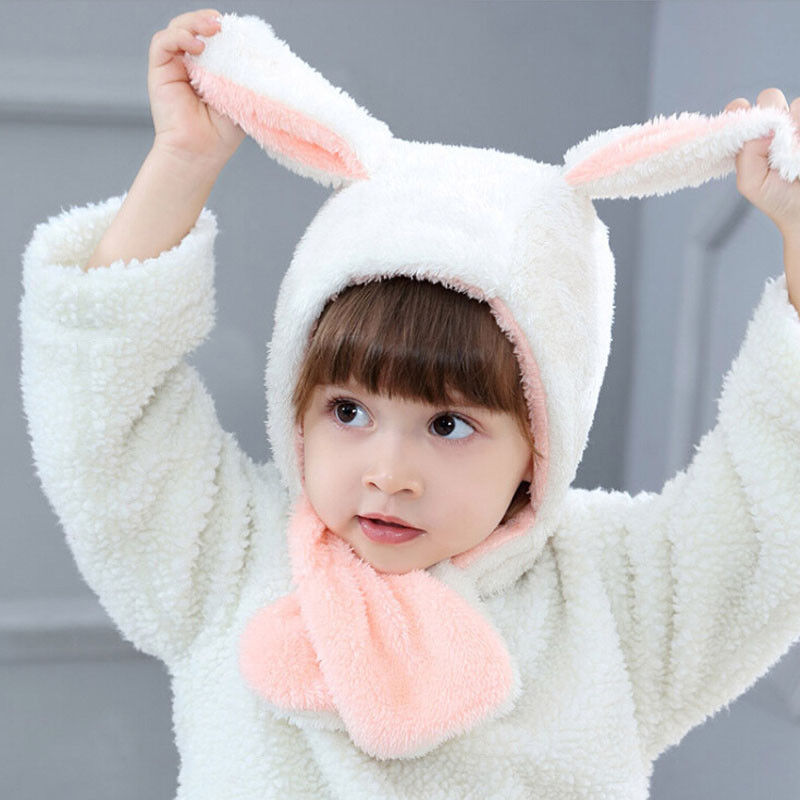 Winter New Arrival Kids Toddler Plush Rabbit Hats Beanie Warm Rabbits Ears Hat Hooded Scarf Earflap Cap Girls Boys 6m-3t Unequal In Performance Men's Hats