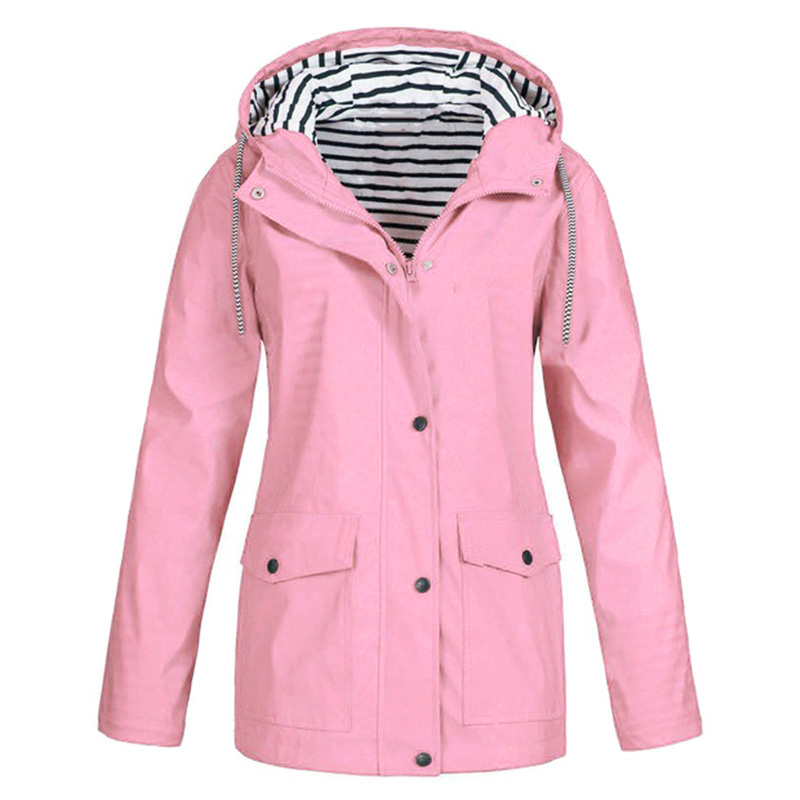 2019 Sporty Women Hooded   Trench   Coat Striped Inside Drawstring Solid Color Pocket Long Coat Tops for Women Sportswear   Trench