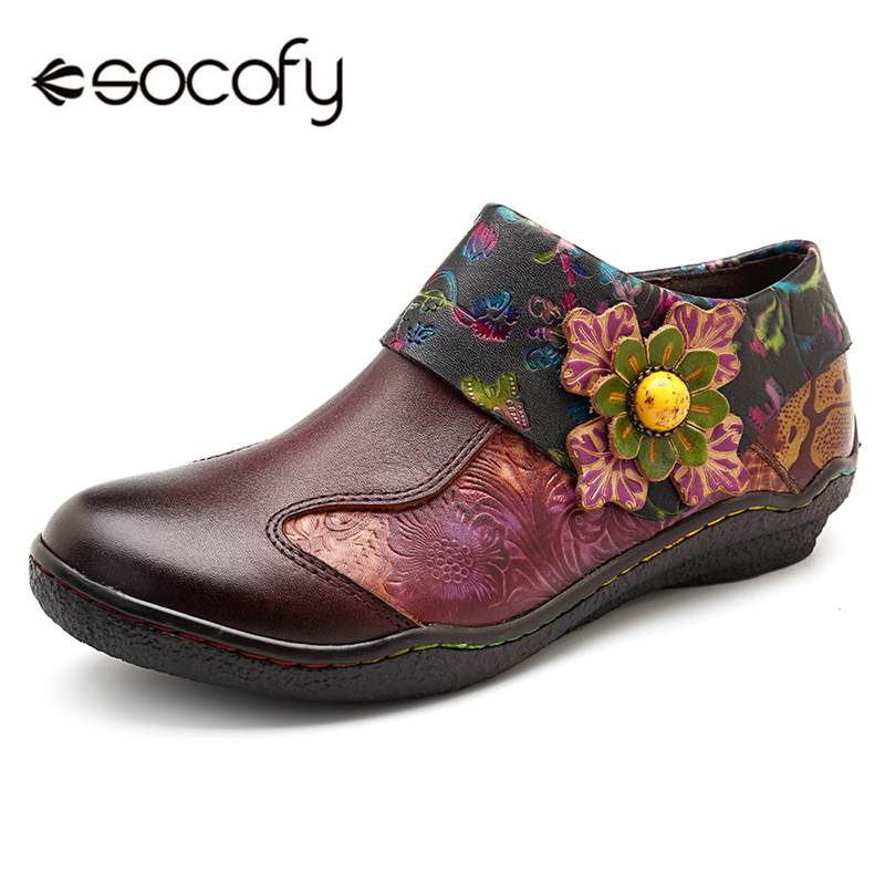 414581ec565 Socofy Retro Genuine Leather Splicing Flats Shoes Women Zipper Casual  Loafers Soft Sole Sports Shoes Woman