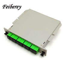 Sc upc apc光スプリッタ1 × 4 1 × 8 1 × 16光plcスプリッターカセットボックスカード挿入型光ftth plcスプリッタ1x8