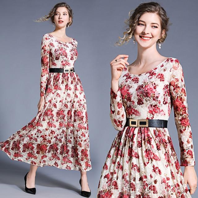 95224b2d7a41d7 Banulin New Fashion 2019 Runway Maxi Dress Women S Long Sleeve Elegant Lace  Party Long Dress