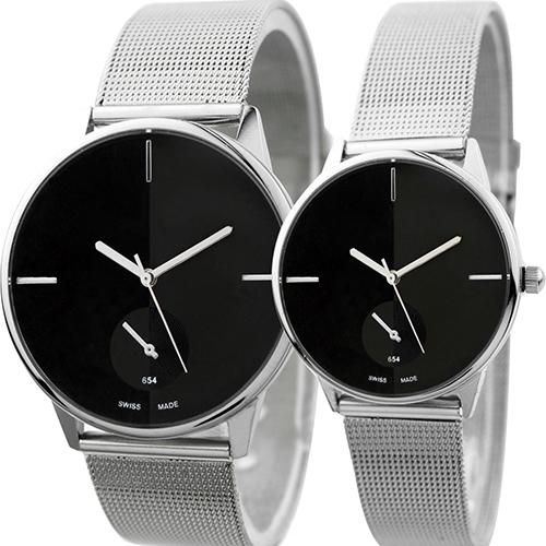 Women\'s Men\'s Classic Quartz Stainless Steel Mesh Band Wrist Watch Lover\'s Gift Couple