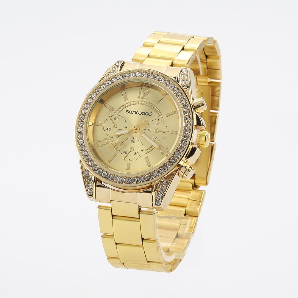 Women\'s Fashion Shiny Rhinestone Stainless Steel Analog Quartz Wrist Watch