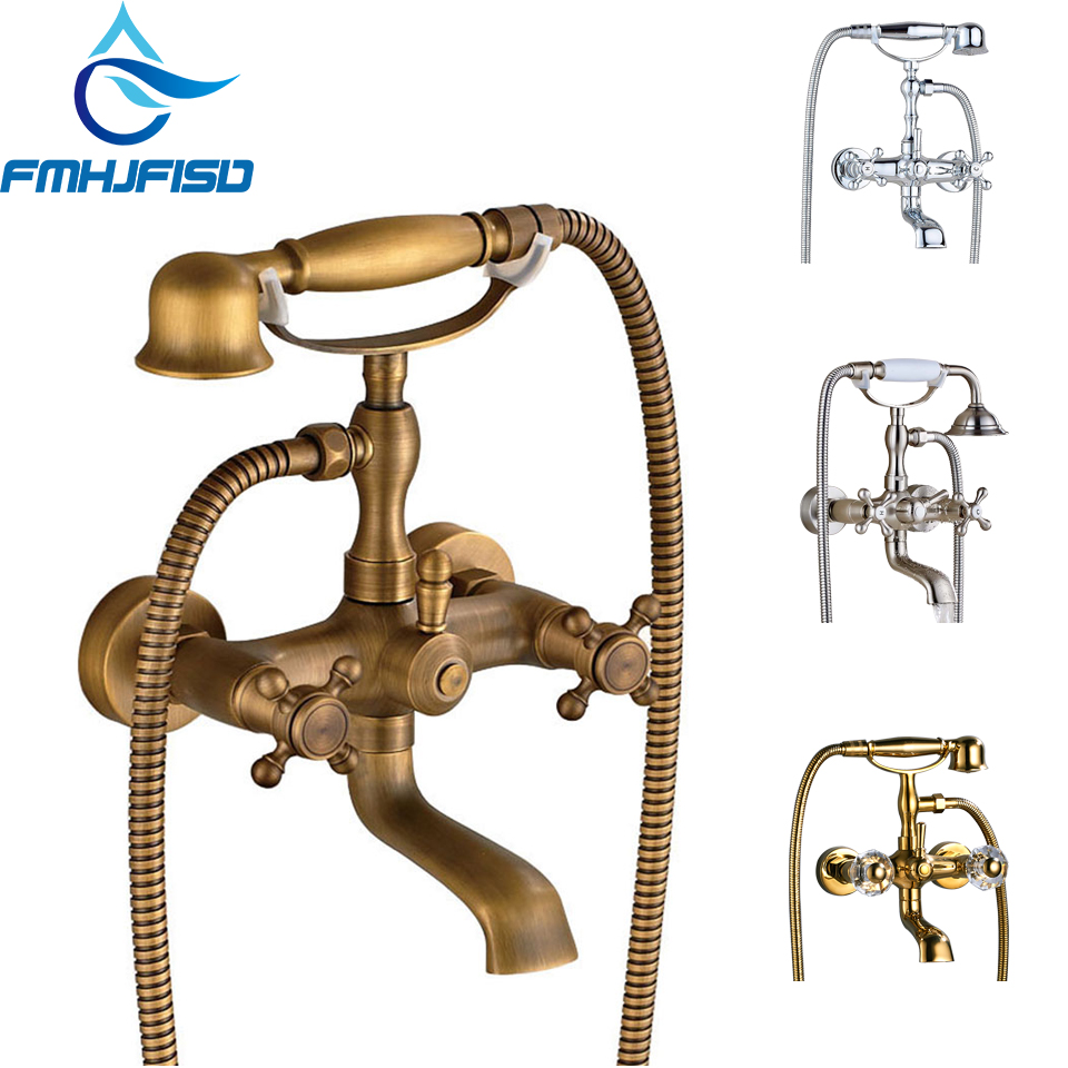 Telephone Shape Bathtub Faucet 2 Handle Waterfall Spout and Hand Shower Widespread Roman Bath Shower Tap