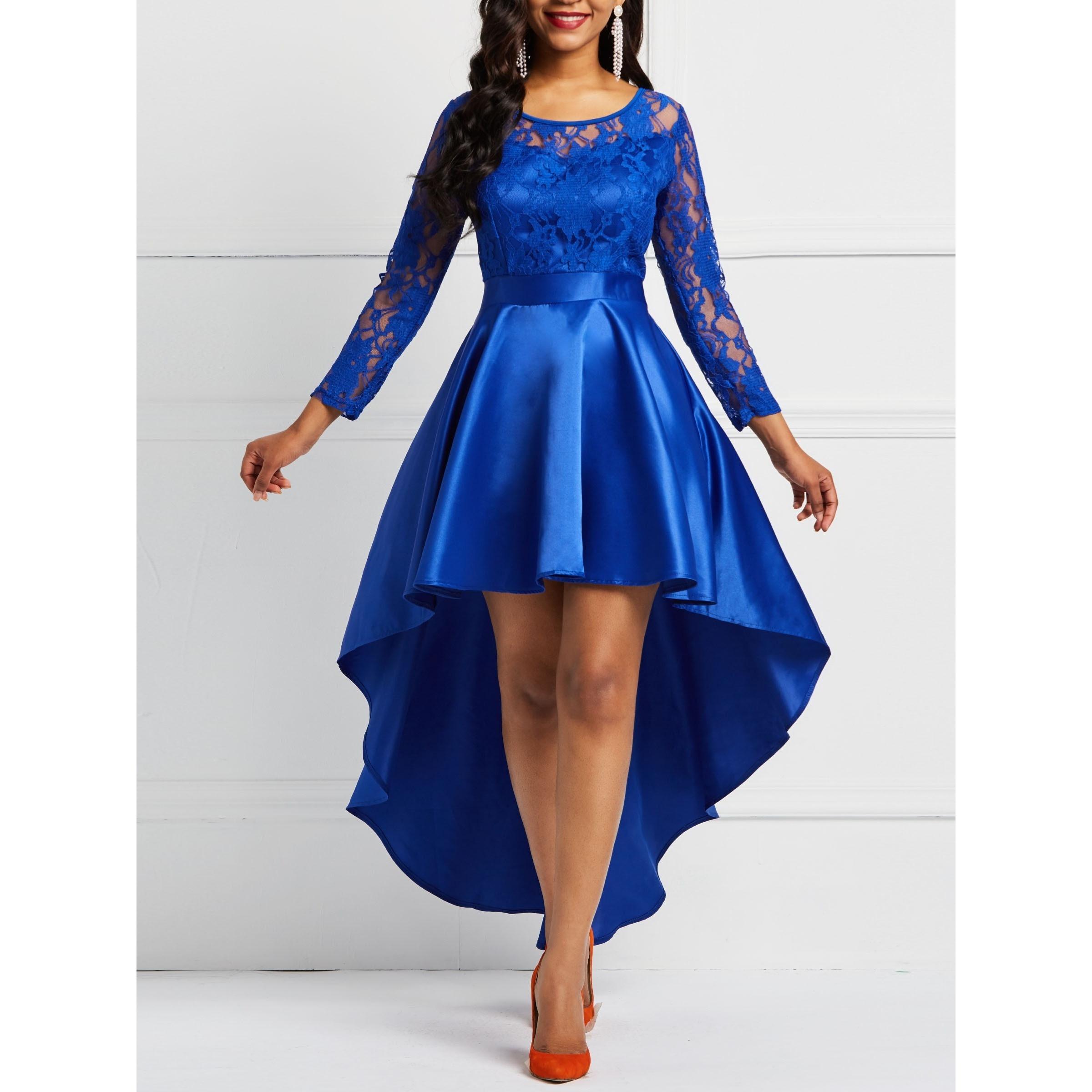 Кружевное платье Для женщин Асимметричная длинная окантован оборкой синий элегантные модные однотонные осенние вечерние женские прозрачн...