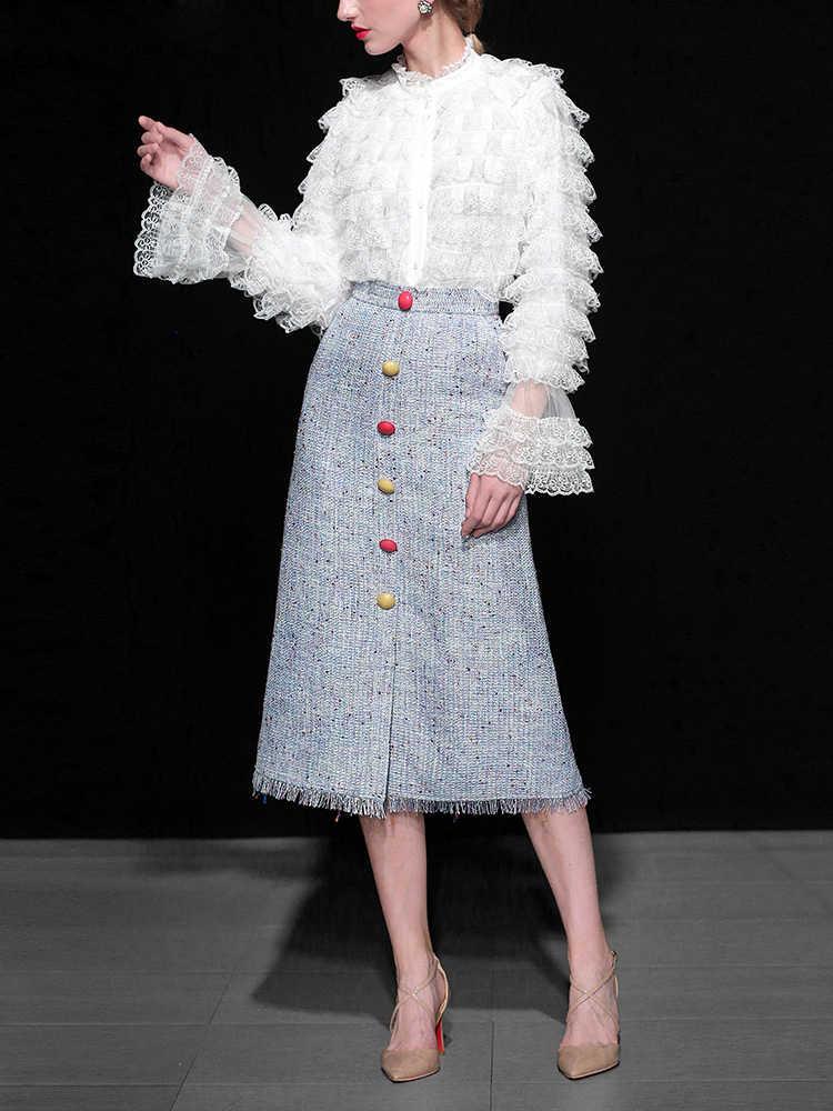 2018 элегантный костюм с юбкой для подиума Женская кружевная блузка в европейском и американском стиле и юбка средней длины в стиле ампир комплект одежды высокого качества C2155