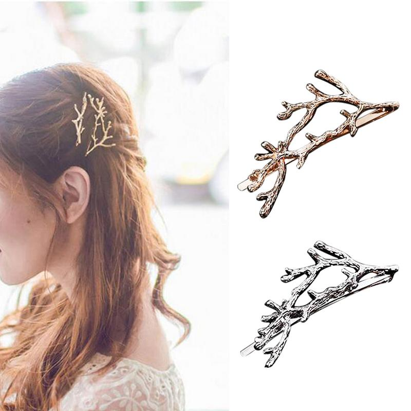 Vintage Gold Silver Hair Clips Girls Alloy Branch Hairpins Fashion Hairgrips Ladies Elegance Metal Hair Accessories For Women