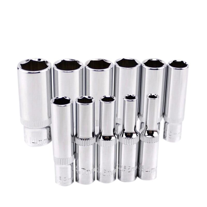 11 pcs 1/4 polegada Unidade Profunda Conjunto de Soquete Ferramentas Manuais CRV 6 Ponto Longo Soquete Hex Ferramenta de Reparo
