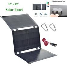 5V 21W Foldable Solar Panel Bag Solar Cells Dual USB Solar Charger Batteries for Phone tablet MP3 /4 Charging Sonnenkollektor недорого