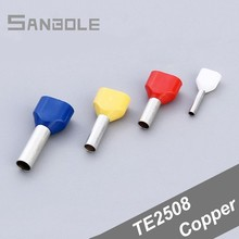 Cold Pressure Insulated Double Cord End Terminal Splice Insert Needle Connection Wiring Tube Terminal TE2508 (1000PCS) стоимость