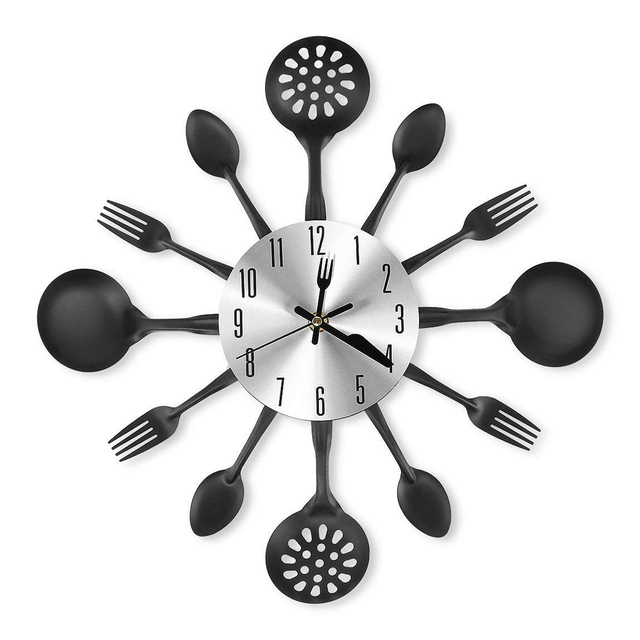 Kitchen Tableware Silent Wall Clocks For Living Room Home Decor New Arrival Hanging Clock Home Decoration - Black Red Silver
