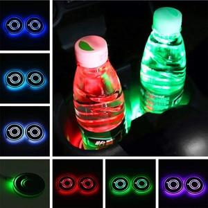 Image 2 - 7 Colors Universal Car Cup Holder Bottom Mat Water Drinking Holder Organizer Pad USB LED Sensor Atmosphere Lights Cover Lamp