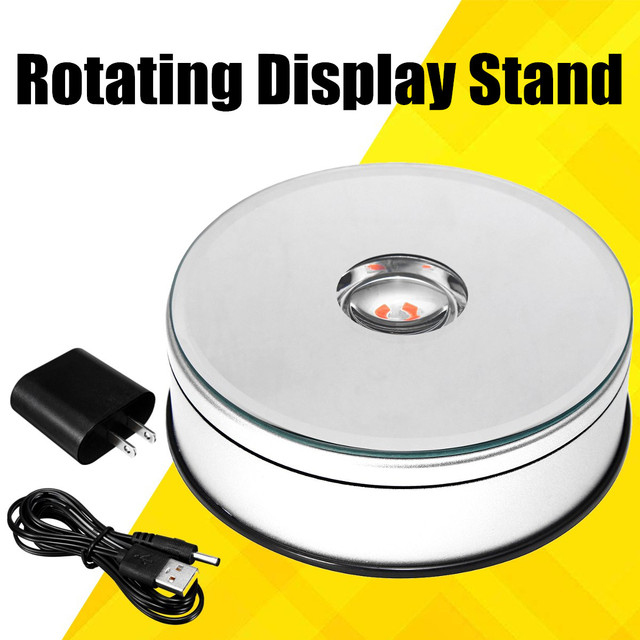 US $15 39 46% OFF|USB LED Light 360 Degree Rotating Display Stand Jewelry  Top Holder Turntable Showcase Photography Photo Studio Accessories Kit-in