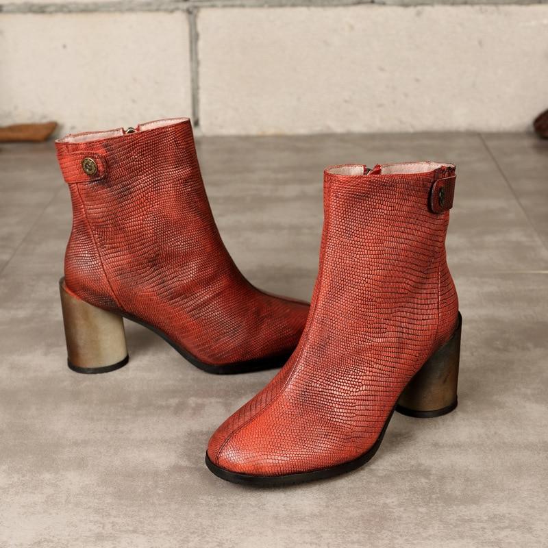 Hiver Femmes Nouvelle Chaussures En Antique Bottes Camel Chelsea Court  D hiver Haute Véritable Cuir red Femme 7dSwrTWpq7 d867ba7357ee
