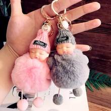 Cute Fluffy Pom Pom Sleeping Baby Key Chain Faux Rabbit Fur Pom Pom Knitted Hat Baby Doll Keychain Car Keyring Toy Birthday Gift(China)