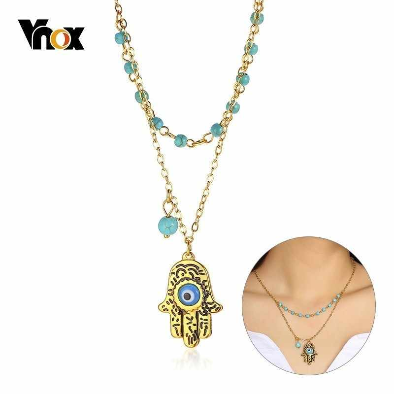 Vnox Layered Natural Beads Chain Necklace for Women Stainless Steel Hamsa Hand Long Pendant