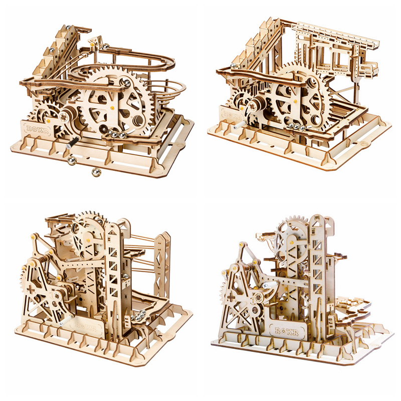 Robotime 4 Kinds DIY Magic Gear Drive Ball Crash Game Wooden Model Building Kits Toys Gift for Children Teens Adult LG Series