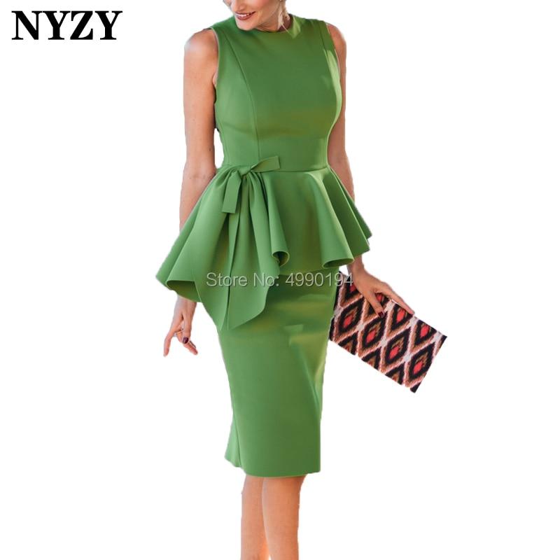 NYZY C89 Elegant Sleeveless Grass Green Evening Dress Short Knee Length Cocktail Dress Party Vestido Coctel Cheap Custom Made
