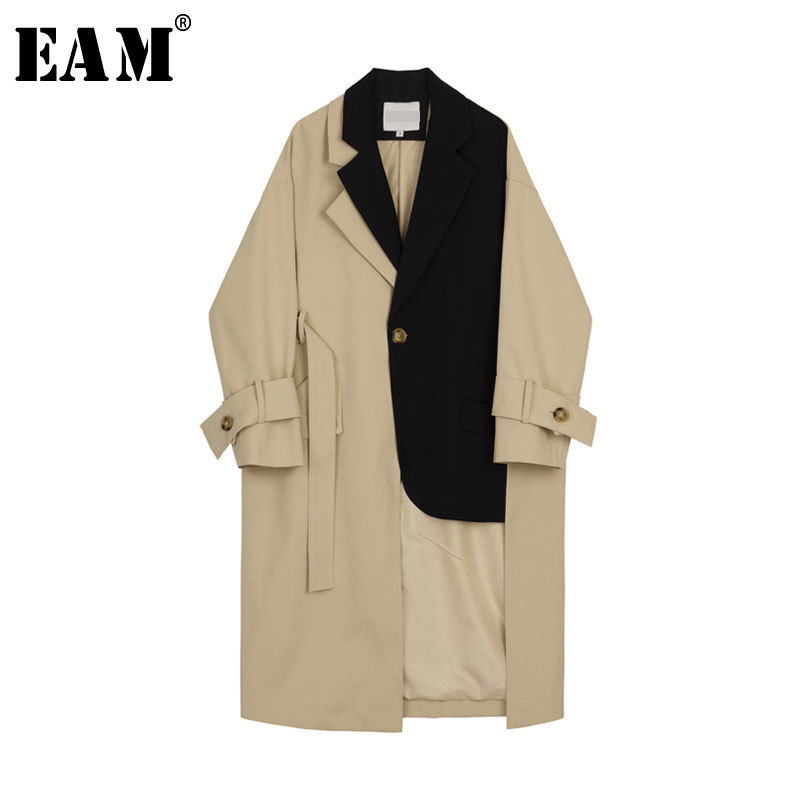 [EAM] 2019 New Spring Summer Lapel Long Sleeve Hit Color Long Personality Loose Big Size Windbreaker Women   Trench   Fashion JR665