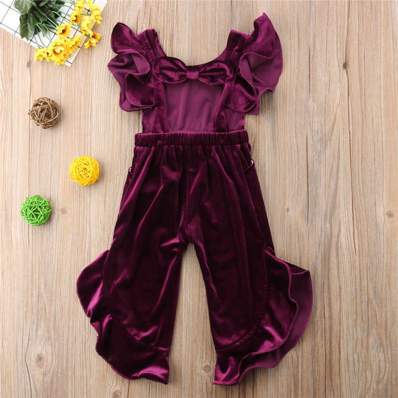d1a2c5da7 Toddler Kids Baby Girl Clothes Korean Velvet Ruffles Romper Jumpsuit  Sunsuit Outfit Autumn Wine Red Yellow