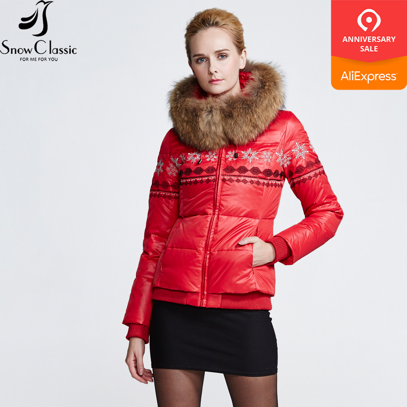 SnowClassic Winter Real Raccoon Fur Collar   down     Coats   parkas Jacket Women 80% white Duck Thick short winter jacket 12446