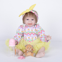 Silicone 22inch Reborn Baby Girl Doll Rooted Pure Mohair Hair Newborn Toddler with Magnetic Pacifier and Nursing Bottle