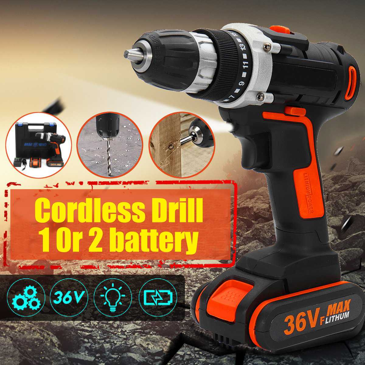 36VF Electric Cordless Drill 1 or 2 Li-Ion Battery 15+1 Clutches Control Power Drills Repair Tools36VF Electric Cordless Drill 1 or 2 Li-Ion Battery 15+1 Clutches Control Power Drills Repair Tools