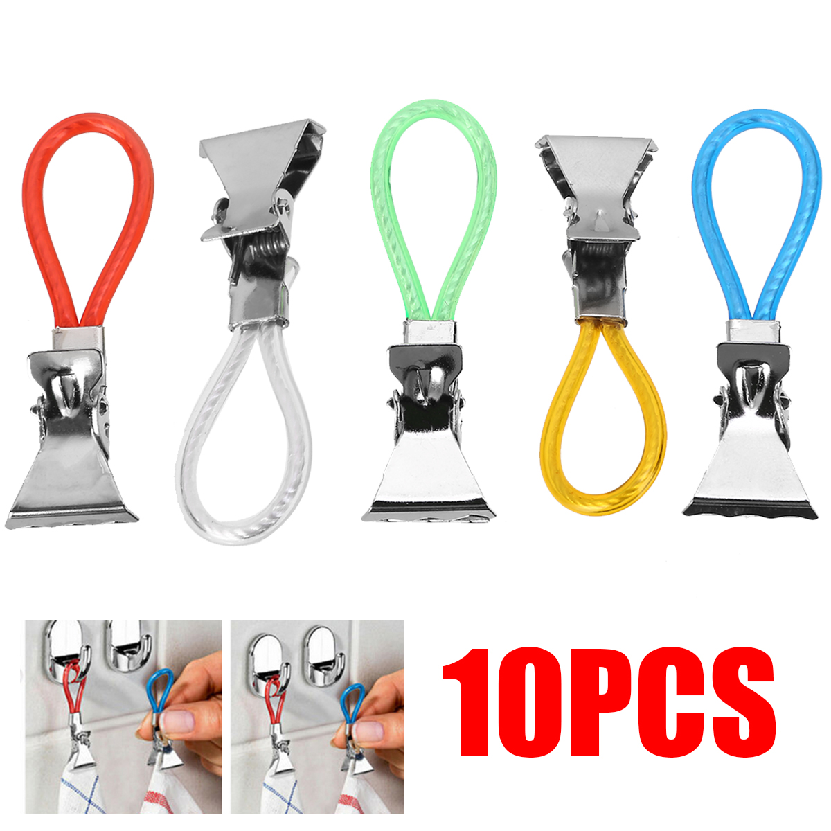 10pcs Multifunctional Towel Clips Travel Kitchen Tea Towels Metal Clip Home Organization Hooks Mayitr