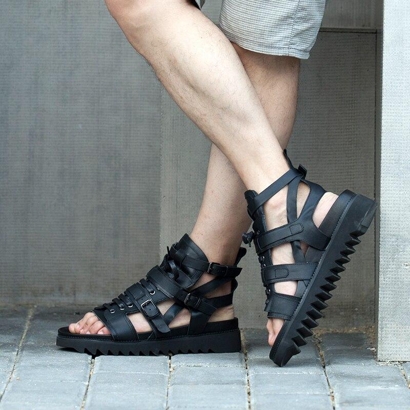 Gladiadores Sandalias Dos Lazer 2018 Estilo Plataforma Quente Alta De Pretas Sandálias Britânico Sapatos Verão Homens qnaHRH