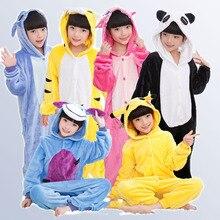 Купить с кэшбэком Baby Boys Girls Pajamas Autumn Winter Children Flannel Animal funny Cartoon Pajamas Kid Onesie Sleepwear for 3 5 7 9 11 12 Years
