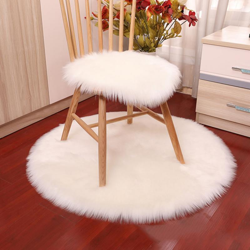 Super Soft Faux Sheepskin Washable Carpet Warm Hairy Seat Pad Fluffy Rugs Faux Fur Mats For Floor Chairs Sofas Cushions 3 Colors