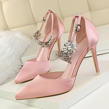 Elegant Pink Pointed Toe Womens Stiletto High Heels Shoes Satin Shallow Diamond Sandals Ladies Dress DS-A0095
