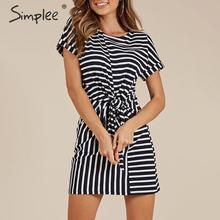 Simplee O-neck short sleeve women summer dress Striped twist straight cotton plus size dresses female Casual spandex solid dress
