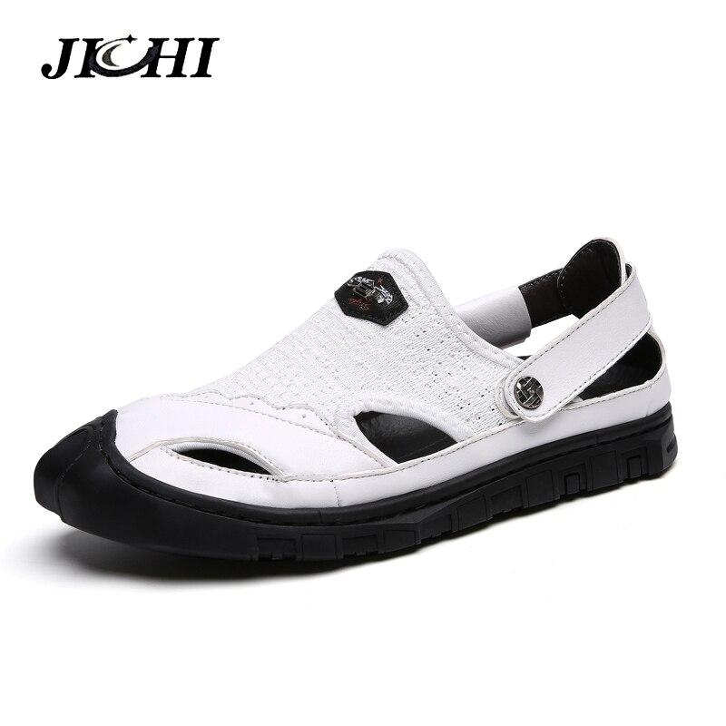 2019 Men Sandals Summer Genuine Leather Handmade Outdoor Casual Beach Slipper Men Shoes Anti-shock Footwear Breathable Sandals