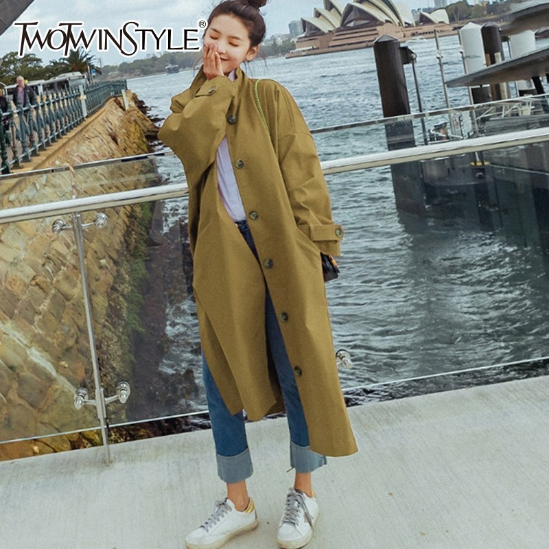 TWOTWINSTYLE Autumn Women's Windbreakers Stand Collar Long Sleeve Side Split Red   Trench   Coat Female 2018 Fashion Clothes New