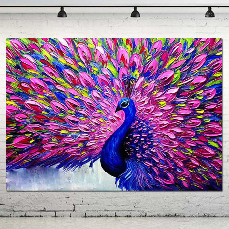 Palette knife impasto animal oil painting on canvas high - Wall decor painting ideas ...