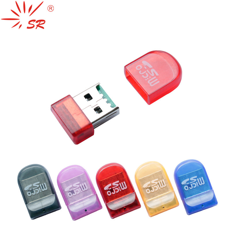 SR Transparent Pinkie Style Micro SD Card Reader USB 2.0 Flash Lector Memory OTG Adapter Drive For PC Laptop Accessories