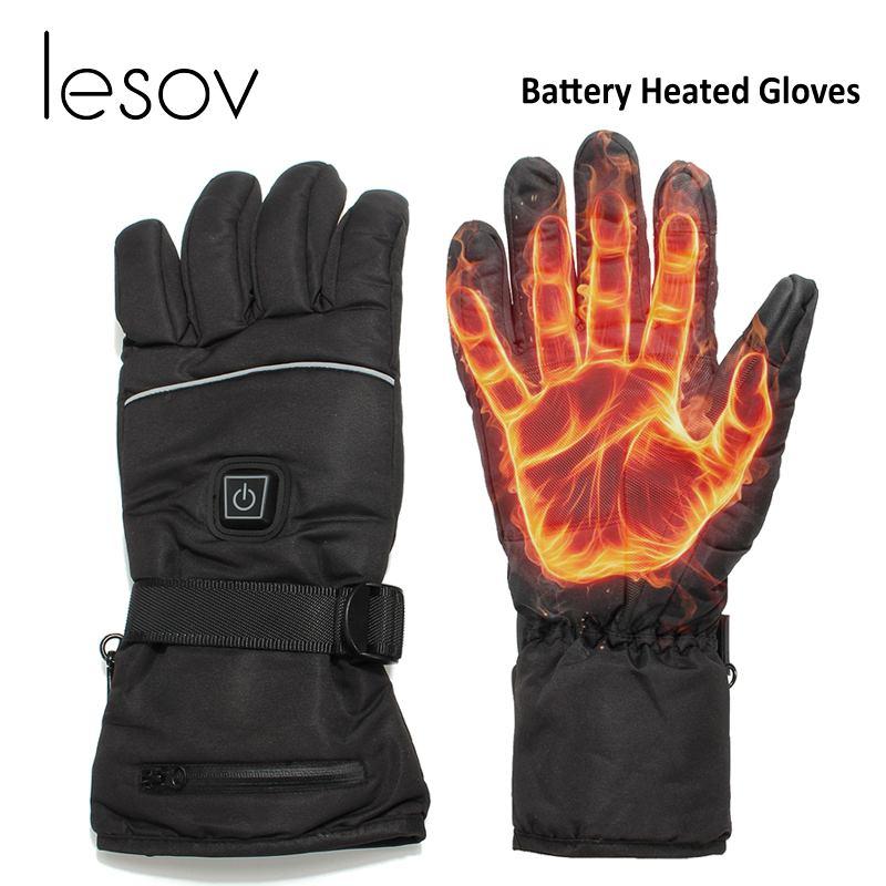Lesov L/XL gants d'hiver imperméables femmes hommes 3 niveaux de contrôle batterie électrique gants chauffants conduite moto mitaines Guantes