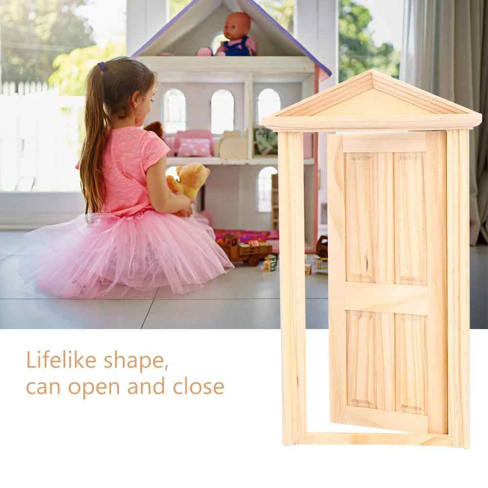Kids Pretend Play Toy Furniture Toys 1:12 Doll House Furniture Simulation Miniatures DIY Wooden Spire Door Furniture Accessories
