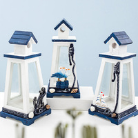 Nordic Mediterranean style wind lamp retro creative marine windproof tower sailing anchor lighthouse home wood decorations gifts