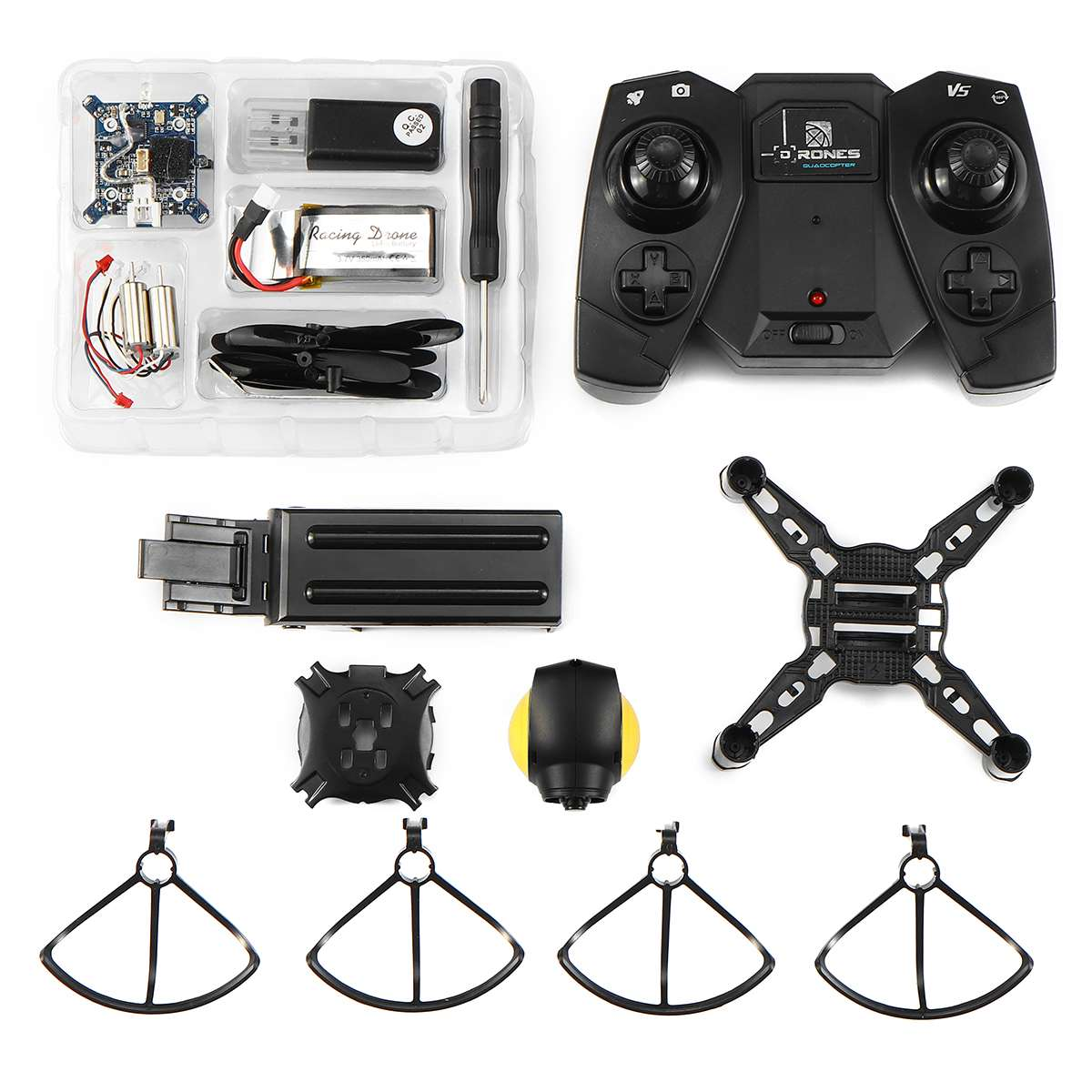 Camera Altitude DIY Drone WIFI FPV 2MP Hold One Key Return RC Battle Quadcopter Black with Yellow Stable Flight Lightweight Kit