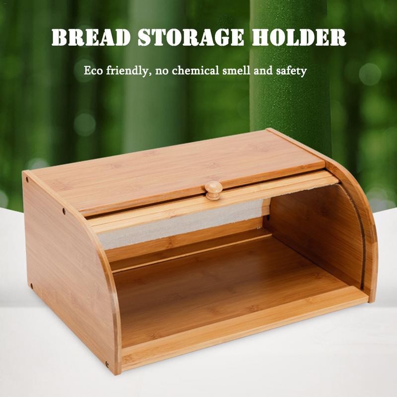 Nouveauté bambou naturel porte-pain alimentaire stockage conteneur cuisine rouleau Top pain boîte de rangement ménage organisateur vente chaude