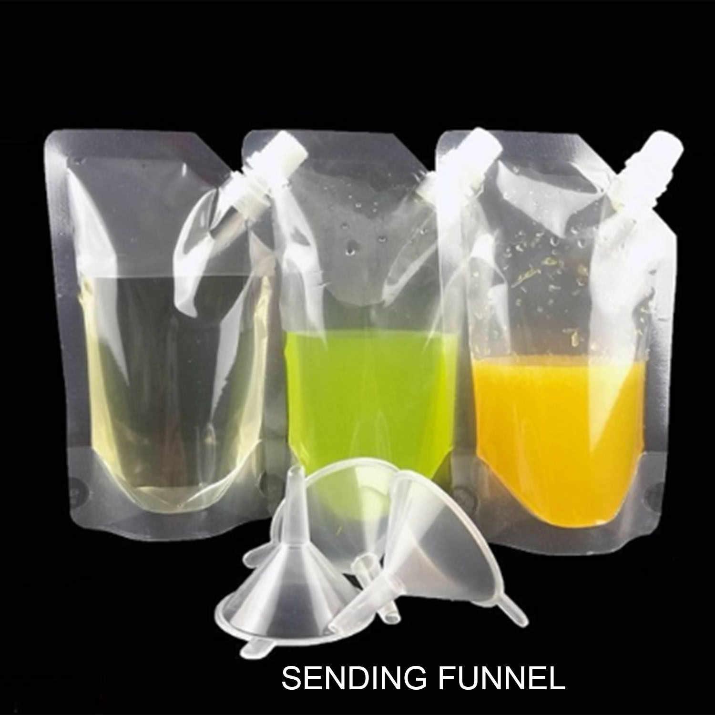 50Pcs Stand-Up Plastic Drink Packaging Bag Spout Pouch For Beverage Liquid Juice Milk Coffee Nozzle Bag Oblique Mouth Drink Ba