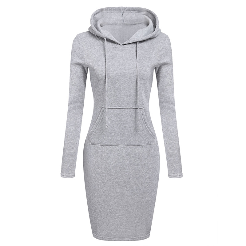 Hoodie Dress Autumn Winter Warm Sweatshirt Long-sleeved Dress 2019 Woman Clothing Hooded Collar Pocket Design Simple Woman Dress