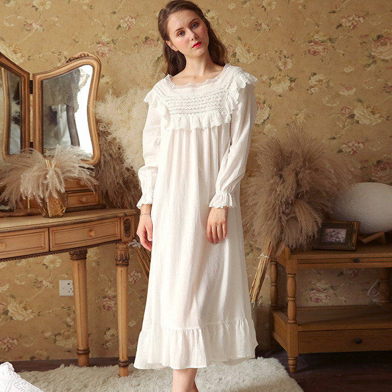 Sexy Ruffles Nightdress Vintage Long Nightgown Autumn Sleepwear Women Night Wear Sleep Shirt Home Dress Cotton Homewear