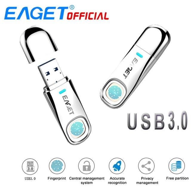 EAGET USB3.0 Flash Drive 64GB Pen Drive Fingerprint Encryption Pendrive 32GB USB Flash Disk Memory Stick Storage For Laptop PC цена 2017