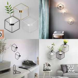 Candle-Holder Wall-Mount Geometric-Shape Home-Decoration Gold Black White Hollow Durable