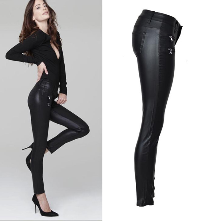 Fashion Women Low Waist Stretch Pencil Pants Streetwear Double Zippers PU Leather Pants Large Size Casual Trousers